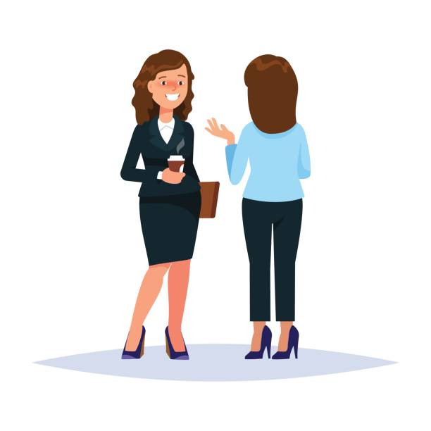 vector illustration of couple businesswoman drinking coffee and talking converse whisperer isolated. business people communication white background - two people talking stock illustrations, clip art, cartoons, & icons
