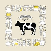 Vector illustration of cow and milk products set.