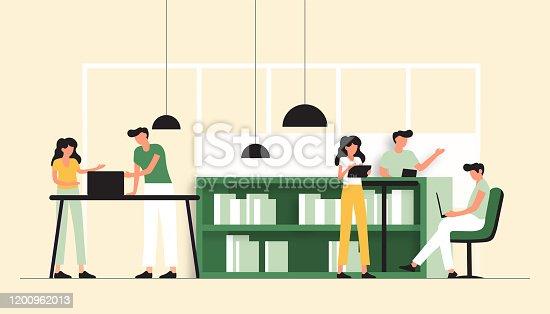 istock Vector Illustration of Coworking Concept. Flat Modern Design for Web Page, Banner, Presentation etc. 1200962013