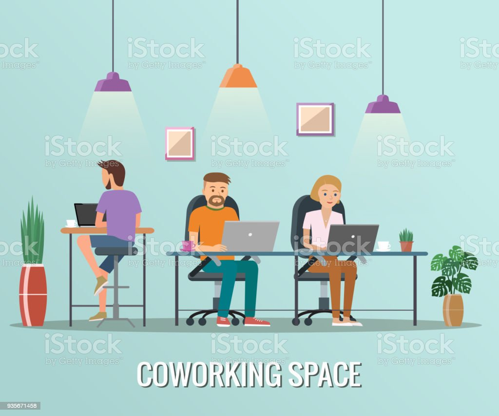 Vector Illustration Of Coworking Space Working Place Office People on the perfect office, the beautiful office, design office, eclectic office, the funny office, the original office, the kodak office, the intelligent office, the inspired office, the advertising office, business office, the fashion office, the art office, the pinnacle office, the ultimate office, the modern office,
