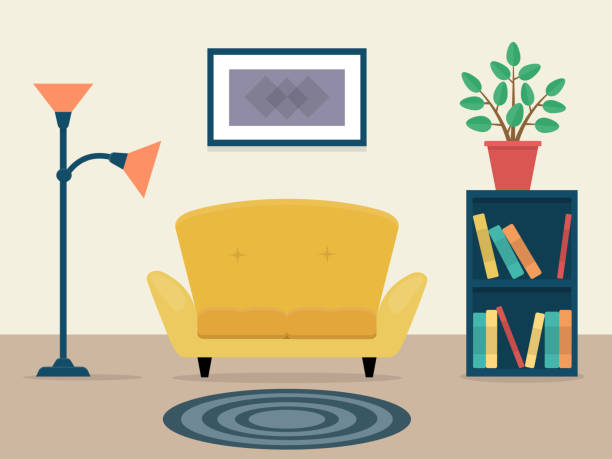 vector illustration of cozy living room with couch and carpet. - living room stock illustrations, clip art, cartoons, & icons