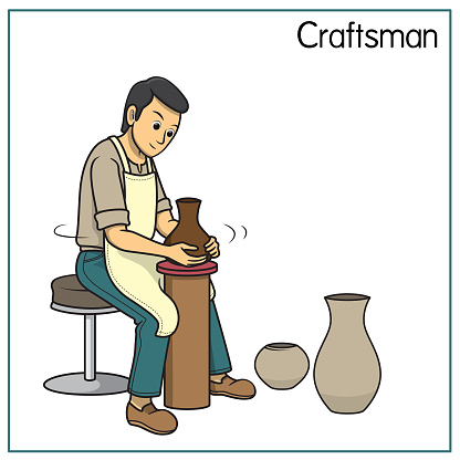 Vector illustration of craftsman isolated on white background. Jobs and occupations concept. Cartoon characters. Education and school kids coloring page, printable, activity, worksheet, flashcard.