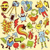 A vector illustration of several crazy doodles.  Along the top of the illustration are a man with a mustache, a camera on a tripod, a swirling abstract design, a green recycling symbol, a person with a dog's head and a yellow cracked lightning bolt.  Below these are a pair of sunglasses, a cellphone, a red cracked lightning bolt, a man in a pointed hat and an orange bird.  The third row contains a pointed abstract design, a triangle with feet, a star with a swirled tail, a smiling cat, a light bulb, and a swirling abstract design.  The bottom includes a green arrow and a smiling robot.