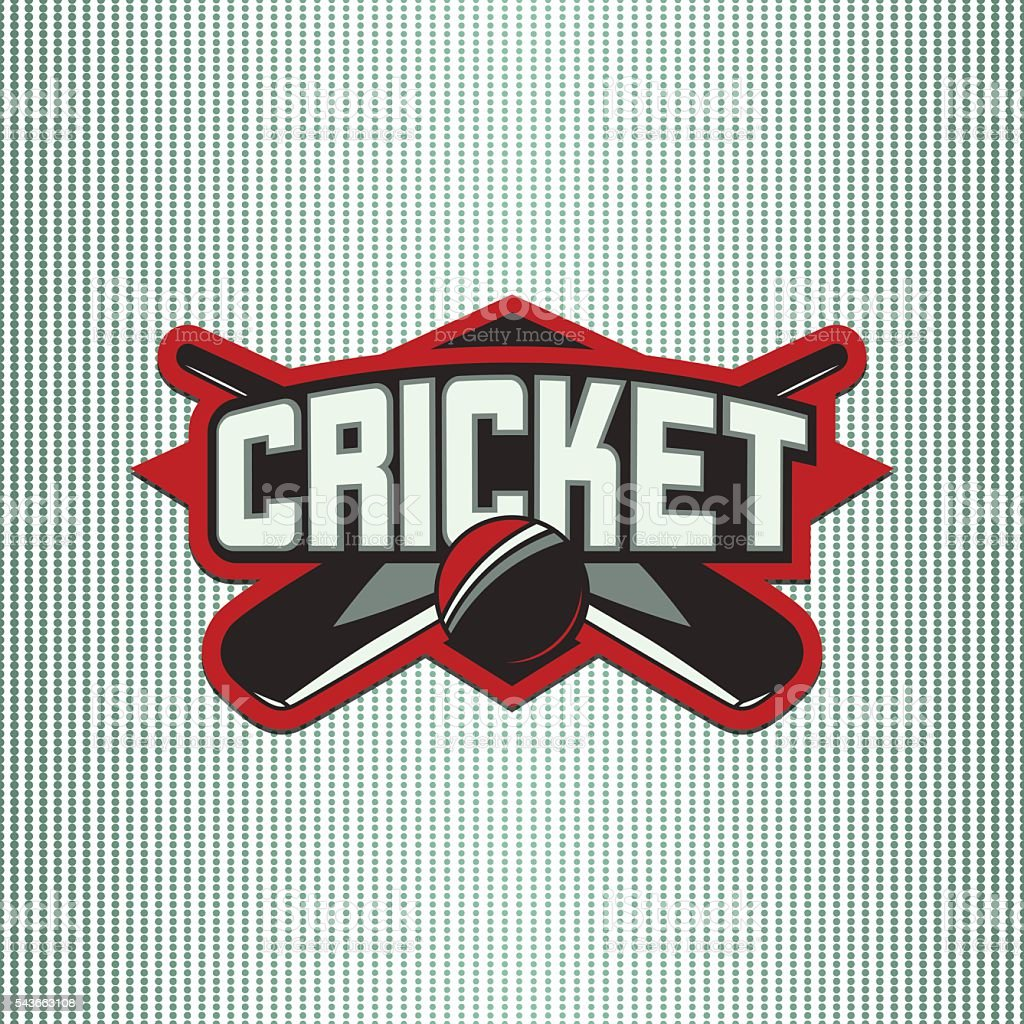 Vector illustration of cricket sport logo with typography sign, ball,...