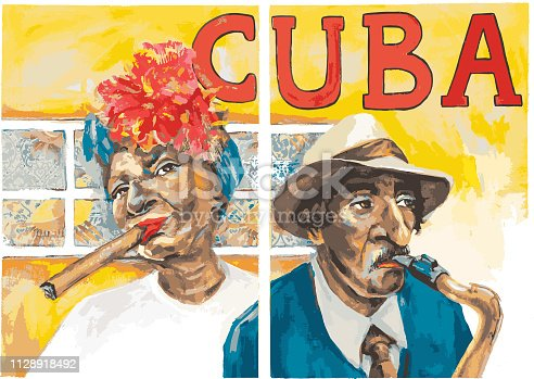 Vector illustration of Cuban people