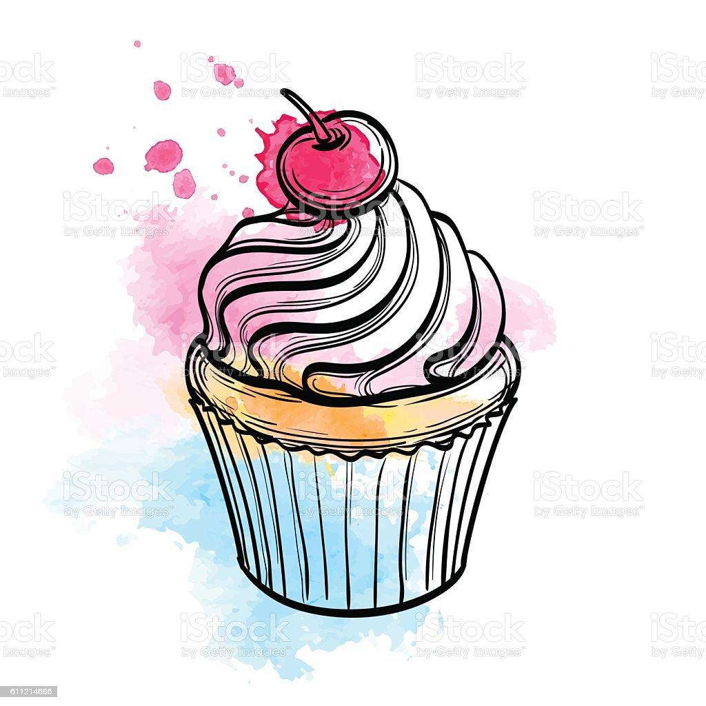 vektorillustration von cupcake stock vektor art und mehr bilder von aquarell 611214686 istock. Black Bedroom Furniture Sets. Home Design Ideas