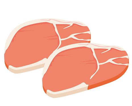 Vector illustration of cut pork .
