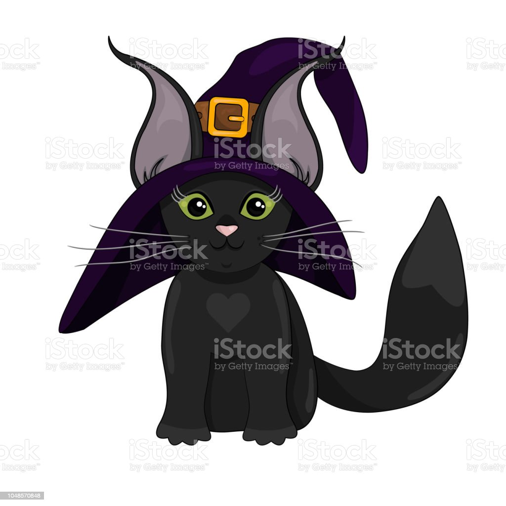 Vector ilustración de gato negro lindo en sombrero de la bruja en estilo de dibujos animados - ilustración de arte vectorial