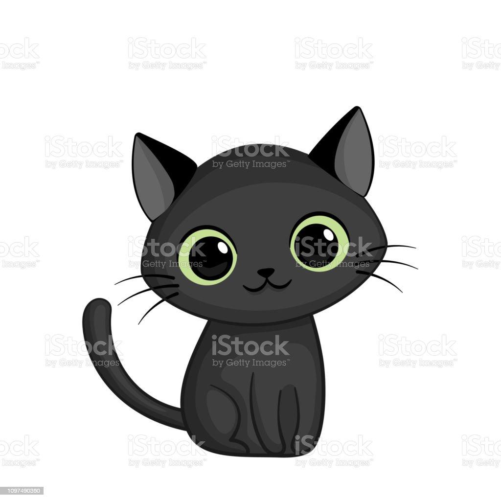 Vector Illustration Of Cute Black Cat Stock Illustration
