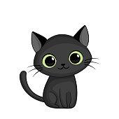 Vector illustration of cute happy black cat