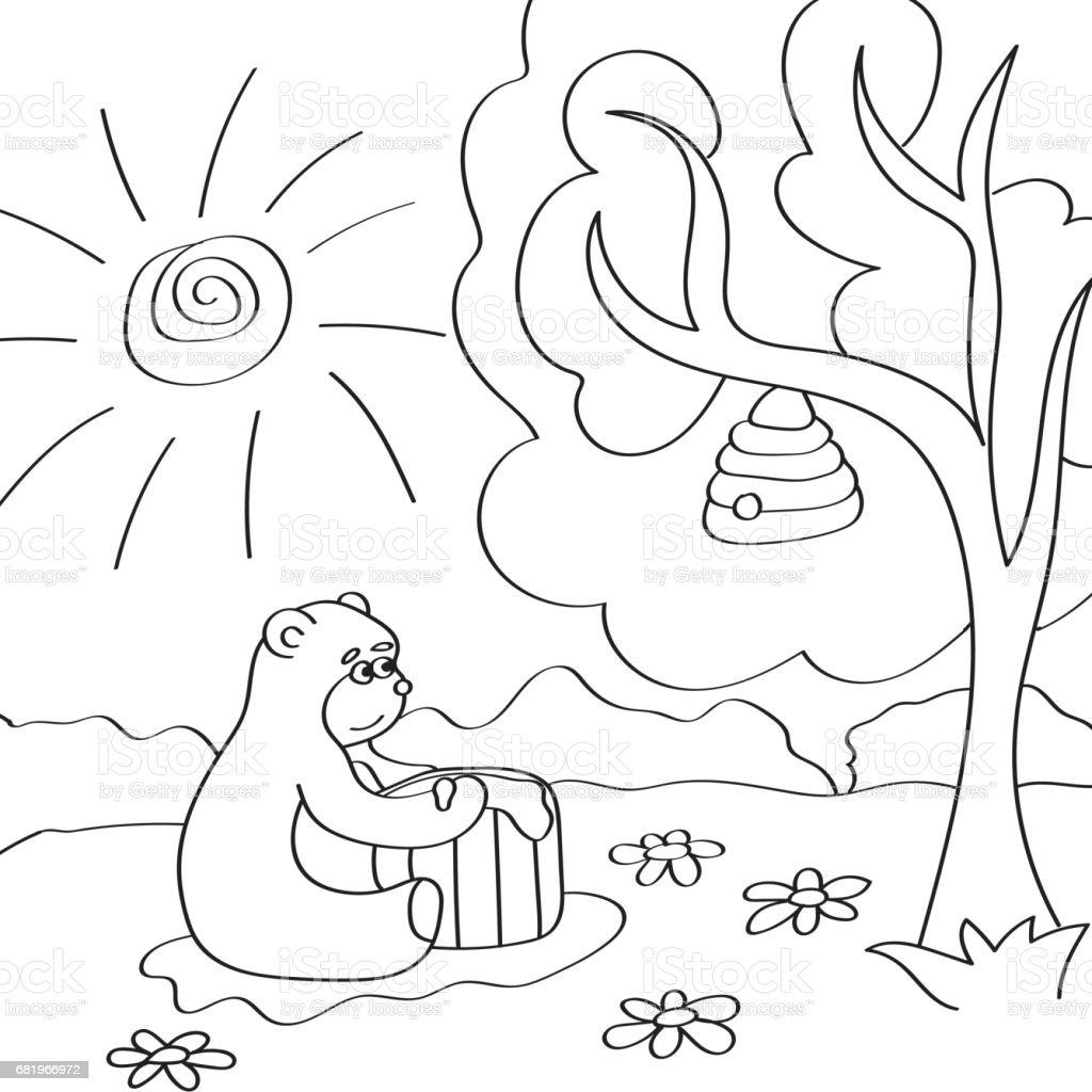 Ilustración De Ilustración De Vector De Oso De Dibujos Animados Para