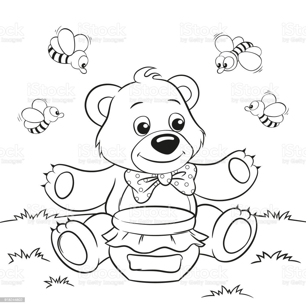 Vector Illustration Of Cute Cartoon Bear With Honey And Bees For ...