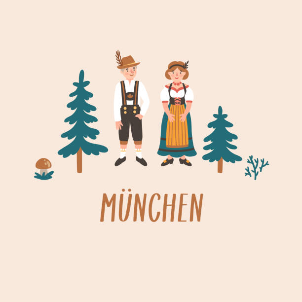 """vector illustration of cute cartoon dutch people in tradirional costume, fir trees and text """"munich"""" in german. - dutch traditional clothing stock illustrations, clip art, cartoons, & icons"""