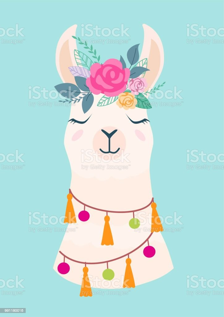 Vector Illustration Of Cute Cartoon Llama With Flowers Stylish
