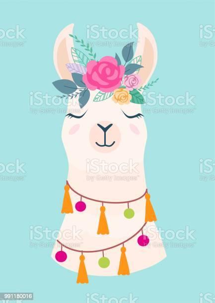 Vector illustration of cute cartoon llama with flowers stylish for vector id991180016?b=1&k=6&m=991180016&s=612x612&h=1ne0fiiv20hizdr3u kft3mhgwyt0y 6 5i6mbulgk8=