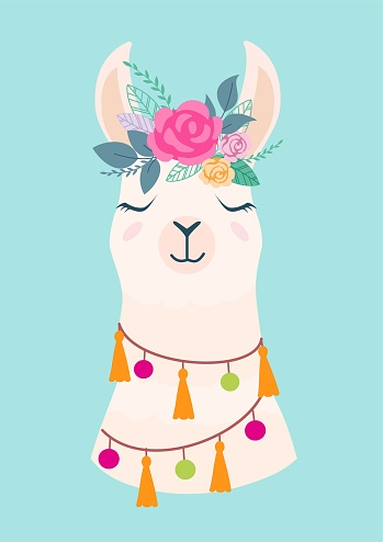 Vector Illustration Of Cute Cartoon Llama With Flowers ...