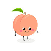 Vector flat illustration of adorable cartoon peach isolated on white background