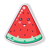 Vector illustration of cute cartoon watermelon slice with kawaii face print for greeting card. post card. flyer, badges, sticker, poster, postcard, patches, banner, scrapbooking, t-shirt, phone case