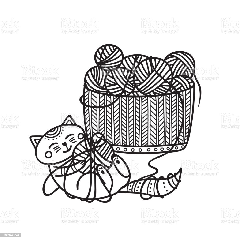 Vector illustration of cute cat playing with yarn ball and knitting basket coloring vector art illustration