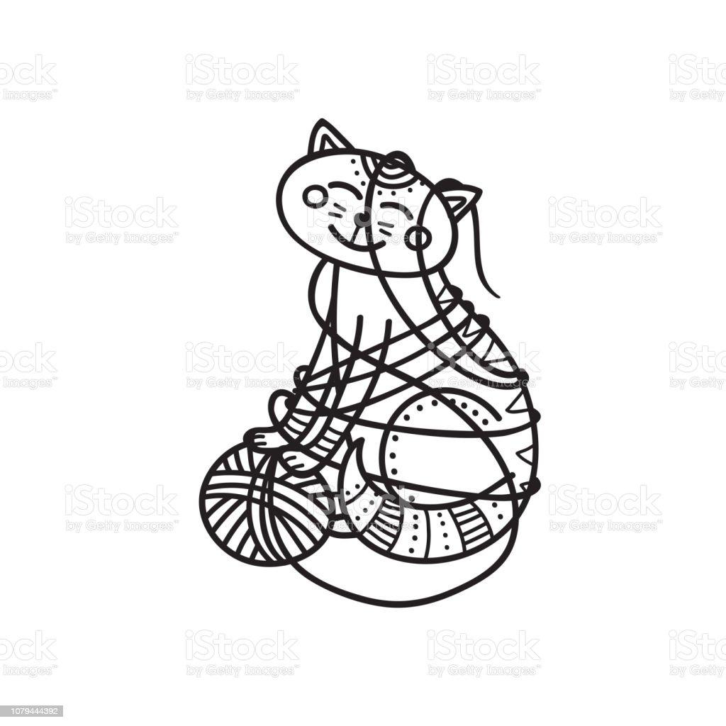 Joli Coloriage Chat.Illustration Vectorielle De Joli Chat Jouant Avec Coloriage De Boule