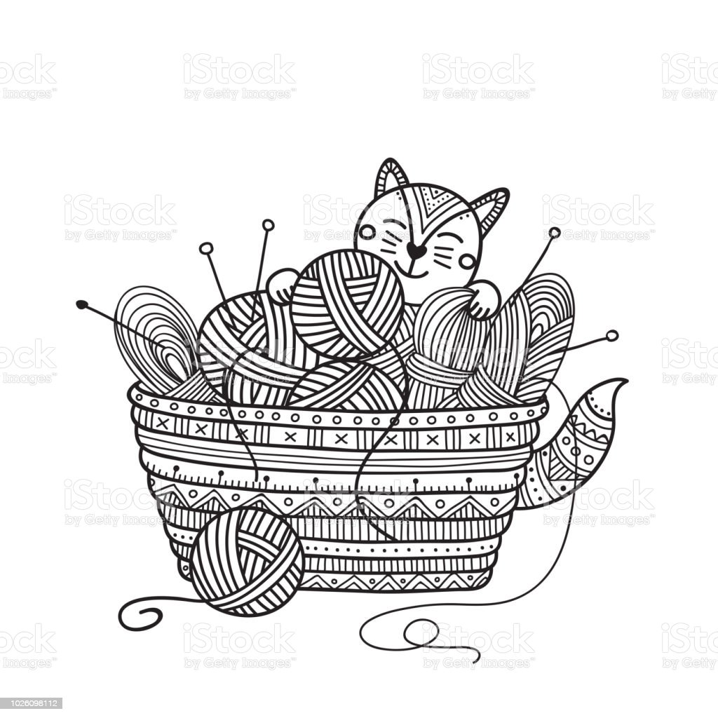 Vector illustration of cute cat with knitting basket of yarn ball coloring vector art illustration