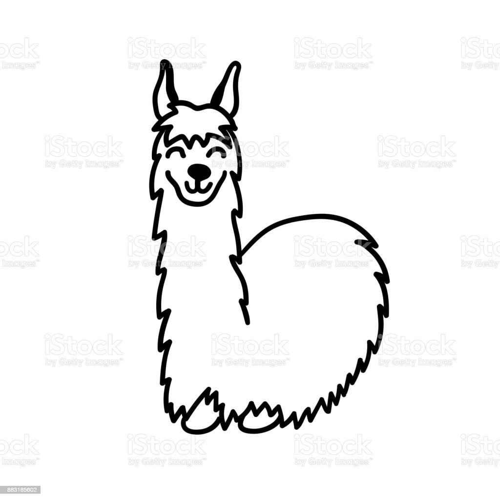 Vector illustration of cute character south America lama with decorations. Isolated outline cartoon baby llama. Hand drawn Peru animal guanaco, alpaca, vicuna. Drawing for print, fabric. vector art illustration