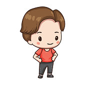 Vector illustration of cute chibi character isolated on white background. Cartoon boy in sport wear .