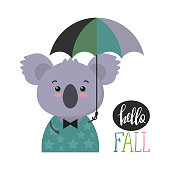 Vector illustration of cute colorful animal with umbrella. Funny koala. Card, print, autumn picture.
