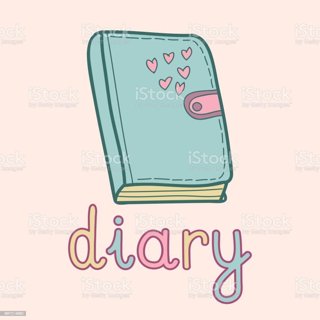 かわいい日記のベクター イラストです生徒学生のノート いたずら書きの