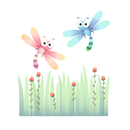 Vector illustration of cute dragonflies flying over the grass.