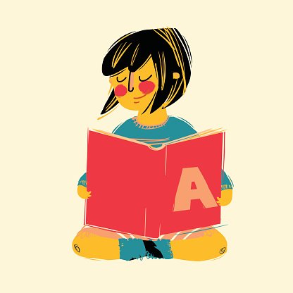 Vector illustration of cute girl reading a book