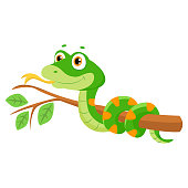 Vector Illustration Of Cute Green Smiles Snake On Branch.