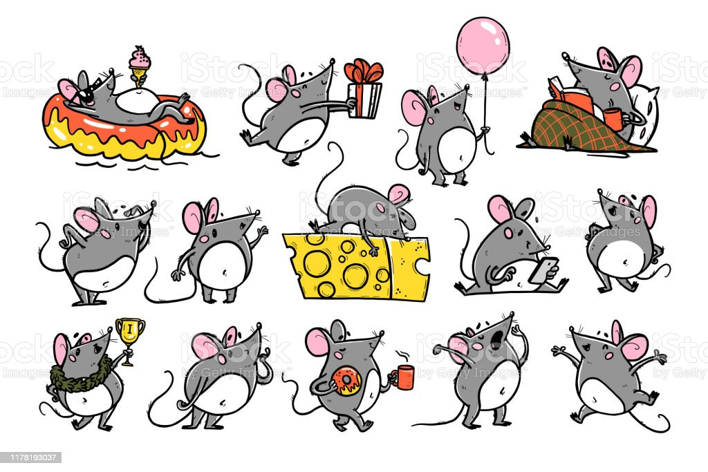 Vector Illustration Of Cute Hand Drawn Grey Mouse ...