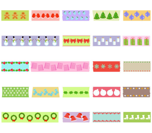 Vector illustration of cute hand drawn masking tape with Christmas winter snowflake theme (Washi tape) holiday set Vector illustration of cute hand drawn masking tape with Christmas winter snowflake theme (Washi tape) holiday set on fabric strip, with object patterns as design elements for decoration isolated on white masking tape stock illustrations