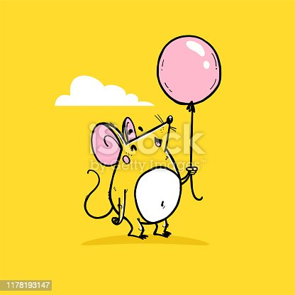 Vector illustration of cute hand drawn yellow mouse character with air balloon standing isolated with cloud on yellow background. 2020 year mascot. For cards, prints, nursery design, banner etc.