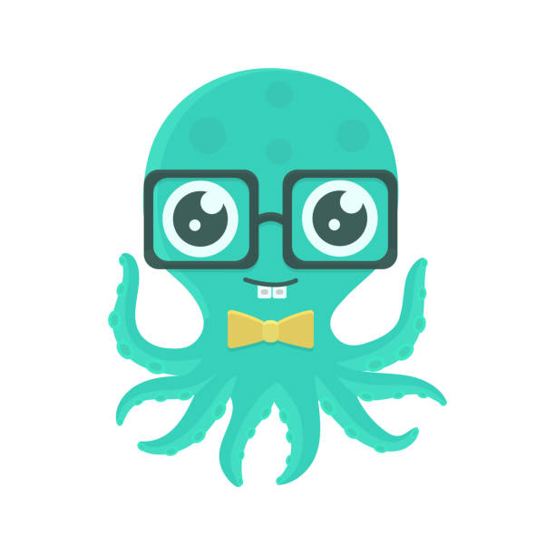 vector illustration of cute kid octopus with glasses and bow tie. - octopus stock illustrations