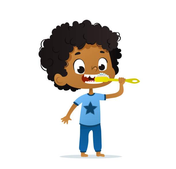 Vector Illustration of cute kindergarten African-American Kid Boy Brushing his teeth. Morning hygiene for. Isolated Vector Illustration of cute African-American Kid Boy Brushing his teeth. Morning hygiene for. Isolated. bathroom clipart stock illustrations