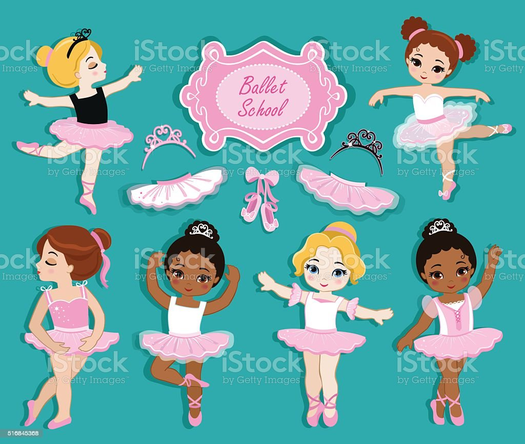 Vector illustration of cute little ballerinas. vector art illustration