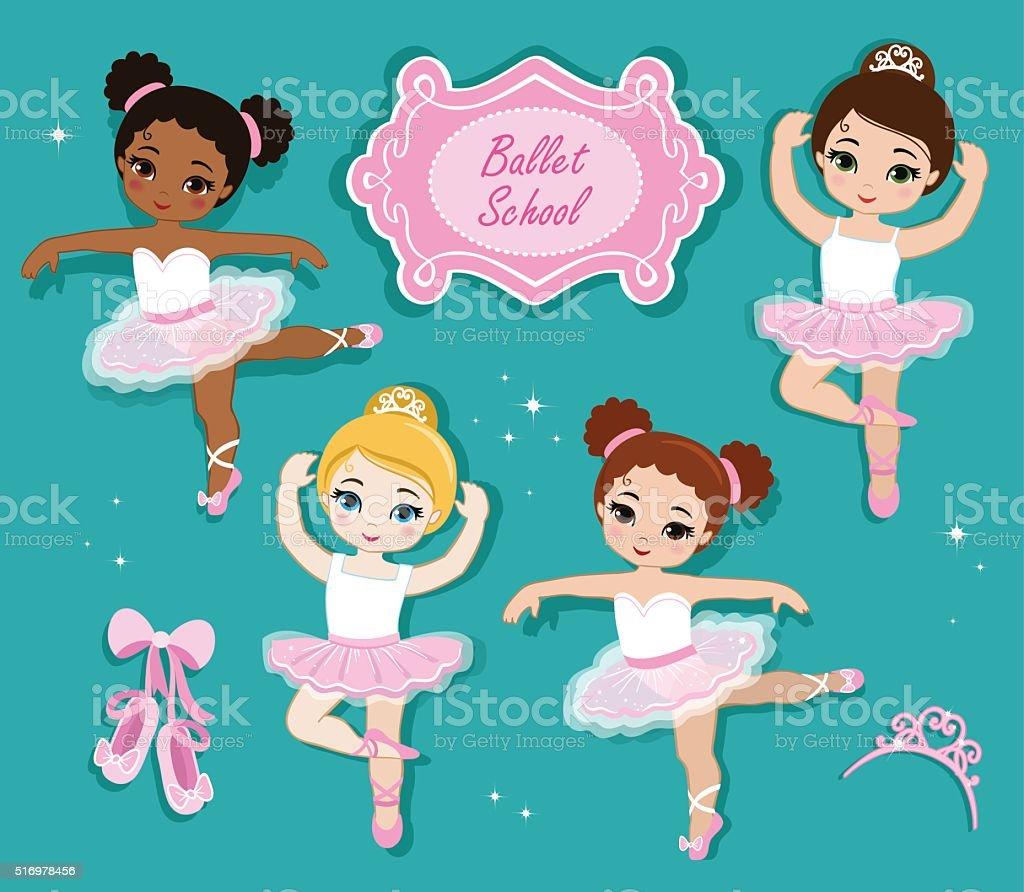 Vector illustration of cute little ballerinas. vector art illustration