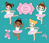 Ballet Slippers. Clip art cute characters, pink tutus, ballet shoes.