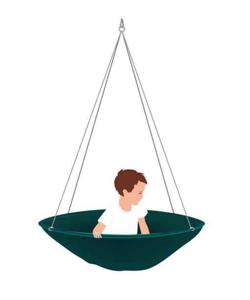 vektor-illustration von niedlichen kleinen jungen in runde hängematte. vestibuläre aktivitäten für kinder, ergotherapie oder sensorisches integrationskonzept. isoliertes objekt auf weißem hintergrund - sensorischer impuls stock-grafiken, -clipart, -cartoons und -symbole