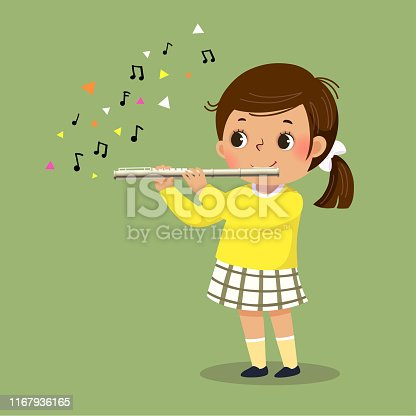 istock Vector illustration of cute little girl playing the flute on green background. 1167936165