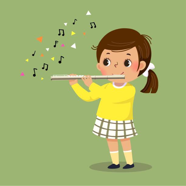 bildbanksillustrationer, clip art samt tecknat material och ikoner med vektor illustration av söt liten flicka som spelar flöjt på grön bakgrund. - flöjt