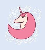 Vector illustration of cute magic unicorn head with horn