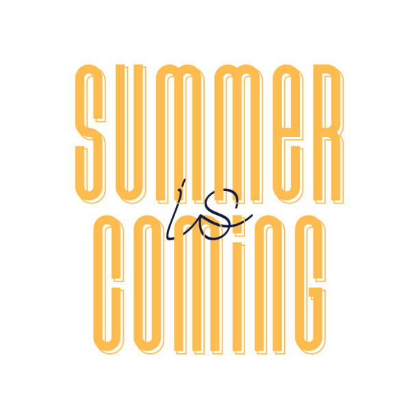 vector illustration of cute orange cartoon lettering summer is coming, hand drawn imitation, strong font, fashion print for t shirt or pajamas for girl and woman - summer fashion stock illustrations, clip art, cartoons, & icons