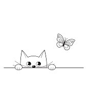Vector illustration of cute peeking kitten watching a butterfly