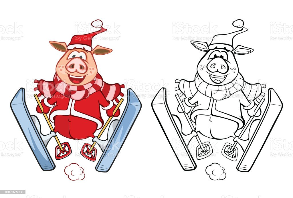 Vector Illustration of  Cute Pig Cartoon Character Coloring Book Outline vector art illustration