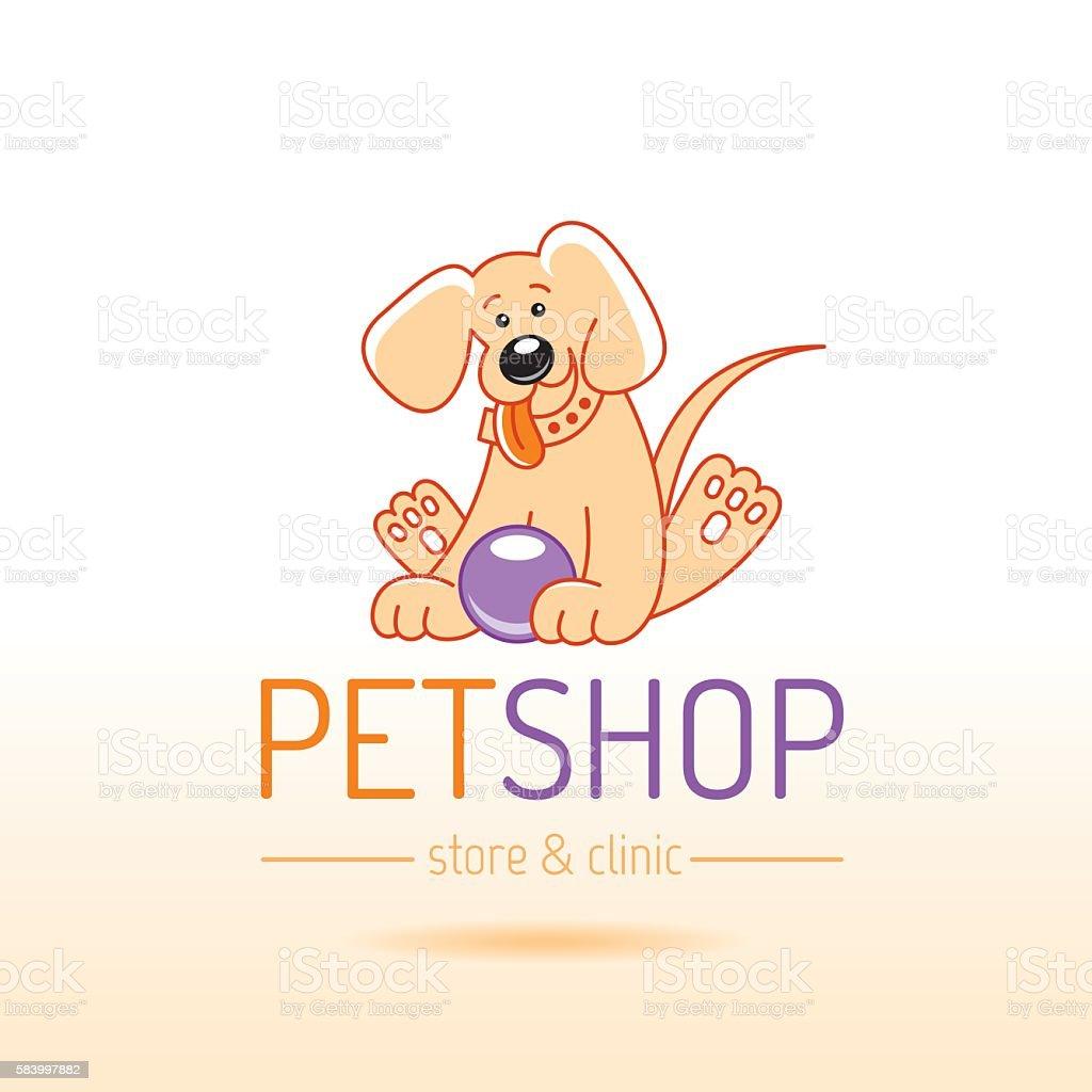 Vector Illustration Of Cute Puppy Dog Cartoon Logo Icon Design Stock