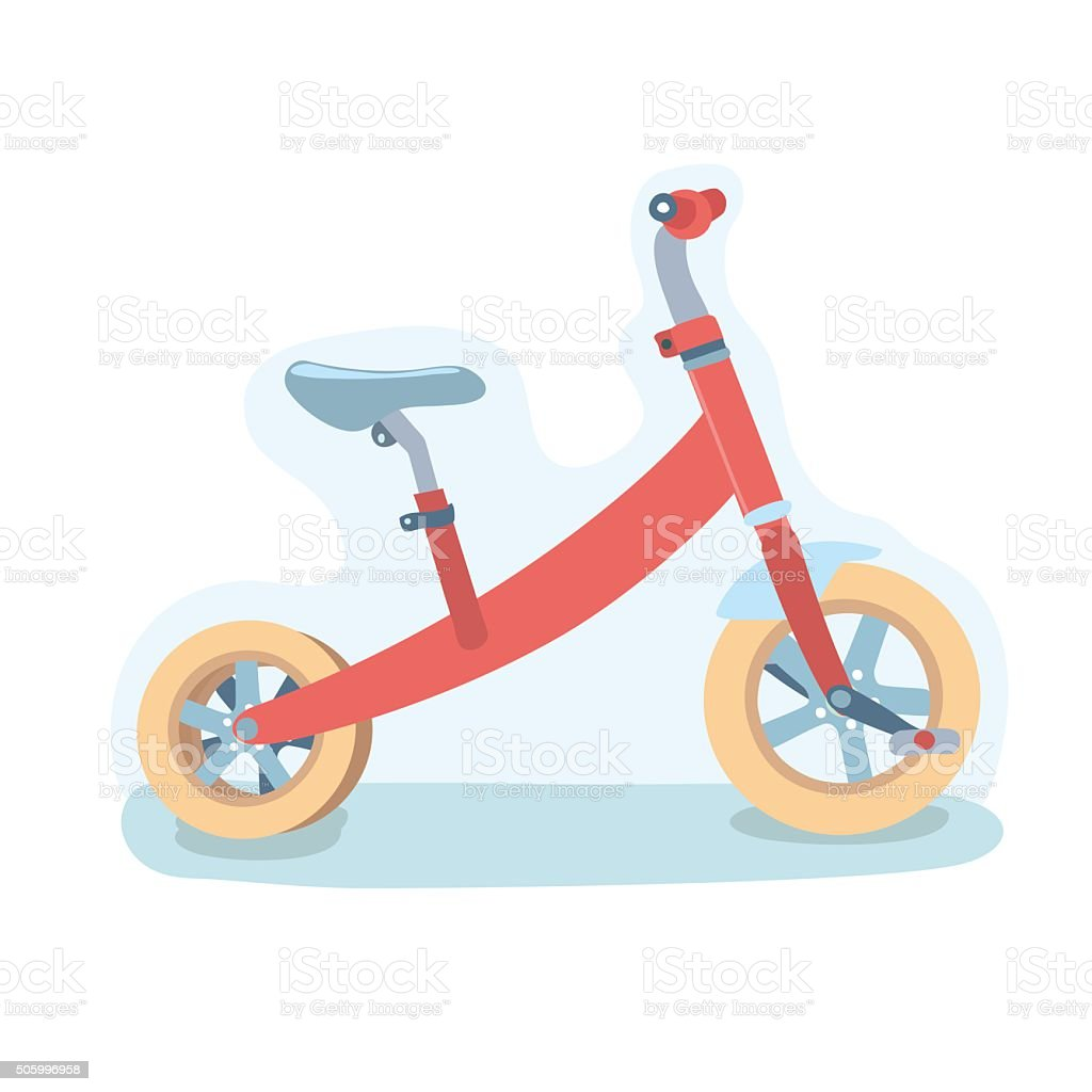 Vector illustration of cute red three-wheeled kids bike vector art illustration