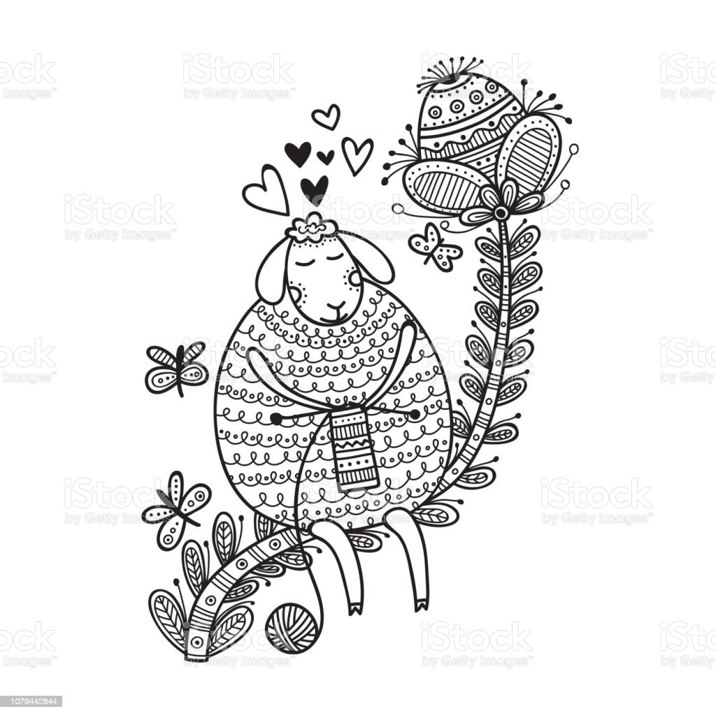 Vector Illustration Of Cute Sheep Knitting With Yarn Ball Coloring Stock  Illustration - Download Image Now